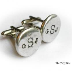 Pewter Nugget Cuff Links - Hand Stamped